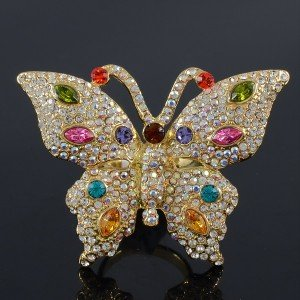 Mix Swarovski Crystals H-Quality Scalewing Butterfly Cocktail Ring Adjustable