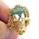 Vintage Flower Skeleton Skull Ring USA:8#,UK: P 1/2 Emerald Swarovski Crystals