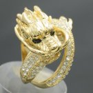 Holy Chinese Dragon Finger Ring Sz 6# Clear Rhinestone Crystals Gold Tone