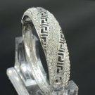 Silver Tone Fashion Bracelet Bangle Cuff W/ Clear Rhinestone Crystals