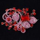 "Swarovski Crystals New Red Flower Leaf Brooch Pin 4.3"""