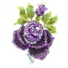 "Rhinestone Crystal Purple Rose Flower Brooch Broach Pin 2.6"" Green Leaf TZ2694"