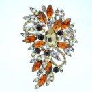"""Silver Tone Trendy Pretty Flower Brooch Pin 3.3"""" W/ Brown Rhinestone Crystals"""