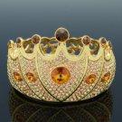 Swarovski Crystals High Quality Topaz Crown Bracelet Bangle W/ Gold Tone