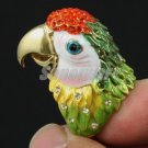 High Quality Animal Bird Green Parrot Cocktail Ring Size 6# w Swarovski Crystals