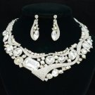 Bridal Bend Flower Necklace Earring Set W/ Clear Rhinestone Crystal Wedding 3280