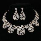 Pretty Pearl Flower Necklace Earring Wedding Jewelry Sets w/ Swarovski Crystals