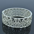 Fashion Wedding Flower Bracelet Bangle W/ Clear Rhinestone Crystals 8659B