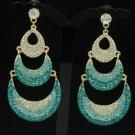 Rhinestone Crystals Vogue Blue Moon Dangle Pierced Earring 12328