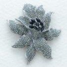 "Gray Cain Flower Brooch Pin 3.7"" W/ Rhinestone Crystals 4616"
