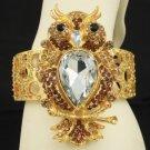 Fashion Cute Swarovski Crystals Elastic Brown Owl Bracelet Bangle