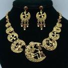 Vintage Style Swarovski Crystals Brown Cross Skeleton Skull Necklace Earring Set