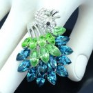 High Quality Green Peafowl Peacock Cocktail Ring 8# w/ Swarovski Crystals