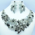 Pretty Rhinestone Crystals Multi Maple Leaves Necklace Earring Set 5737