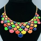 Fashion Dangle Multi Leaf Necklace Pendant W/ Gold Tone