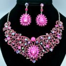 Fuchsia Flower Princess Necklace Earring Set W/ Rhinestone Crystals 02585