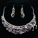 Vogue Purple Riband Flower Necklace Earring Set W/ Rhinestone Crystals 3928