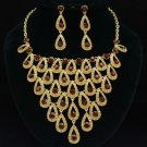 Smoked Topaz Swarovski Crystal Dangle Teardrop Necklace Earring Jewelry Sets