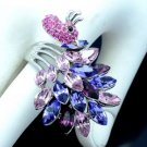 Hi-Quality Purple Peafowl Peacock Cocktail Ring Size 9# w/ Swarovski Crystals