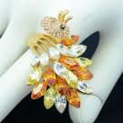 High Quality Brown Peafowl Peacock Cocktail Ring Size 7# w/ Swarovski Crystals