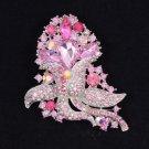 "Rhinestone Crystals Cute Pink Flower Brooch Broach Pin 3.1"" 8804226"