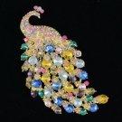 """Rhinestone Crystals Trendy Multicolor Peafowl Peacock Brooch Pin 4.5"""""""