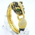 Green Eye Swarovski Crystals Panther Leopard Bracelet Bangle W/ Black Enamel