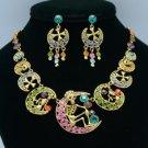 Cross Skeleton Skull Necklace Earring Set W/ Mix Swarovski Crystals SNA3175-5