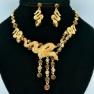 Stunning Gold Topza Snake Necklace Earring Set W/ Swarovski Crystals 3168