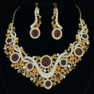 Charm Flower Cluster Necklace Earring Set W/ Brown Rhinestone Crystals