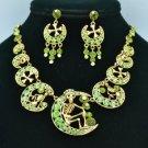 Moon Skeleton Skull Necklace Earring Set W/ Green Swarovski Crystals SNA3175-1