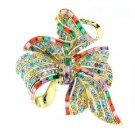 "VTG Style Bowknot Flower Brooch Broach Pin 2.7"" W/ Mix Rhinestone Crystals 4996"