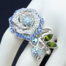 Nice Silver Tone Blue Flower Cocktail Ring 8# W/ Swarovski Crystals SR2099-4