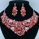 Silver Tone Leaf Flower Necklace Earring Sets W/ Red Rhinestone Crystals 02608