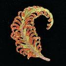 "Gold Tone Feather Brooch Broach Pin 3.1"" W/ Red Rhinestone Crystals 5065C9"