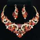 Gold Tone Nice Oval Flower Necklace Earring Set W/ Red Rhinestone Crystals 04312