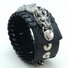 Vintage Style Animal Dragon Bracelet Bangle W/ Black Synthetic Leather