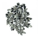"""Gorgeous Black Flower Brooch Broach Pin 4.1"""" W/ Rhinestone Crystals 4672"""