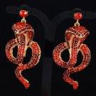 Animal Pierced Light Siam Cobra Snake Earring W/ Red Rhinestone Crystals