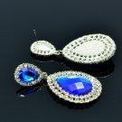 Rhinestone Crystals Popular Big Drop Dangle Pierced Earring 4 Colors 122418