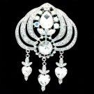 Rhinestone Crystals Silver Tone Bridal Clear Flower Brooch Broach Pin BT5089