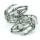 Vintage Style Skeleton Skull Hand Bracelet Bangle w/ Rhinestone Crystal 4 Color