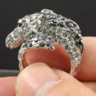 H-Quality Cute Animal Horse Cocktail Ring 8# W/ Gray Swarovski Crystals SR1610-2