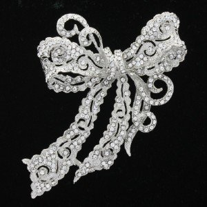 "Rhinestone Crystals Clear Bow Bowknot Brooch Broach Pin 4.0"" Wedding 5823"