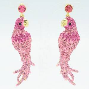 Cute Pink Rhinestone Crystals Dangle Bird Animal Pierced Parrot Earring
