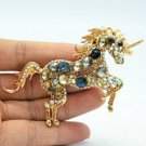 "Rhinestone Crystals Blue Unicorn Horse Broach Brooch Pin Pendant 3.3"" 6172"