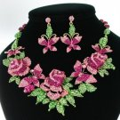 Multi Butterfly Rose Flower Necklace Earring Set W/ Pink Rhinestone Crystals