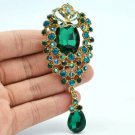 "Green Rhinestone Crystals Rose Flower Brooch Pin Broach Pendant 3.5"" 6303"