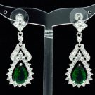 Dangle Green Zircon Flower Pierced Earring W/ Clear Rhinestone Crystals 21510