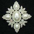 Wedding Bridal Oval Pearl Flower Brooch Pin Clear Rhinestone Crystals FB1199